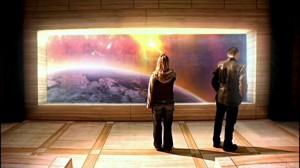 Rose y el Doctor contemplan la Tierra antes de ser destruida por el sol en El Fin del Mundo
