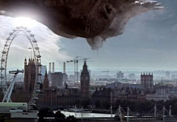 La nave Sycorax amenazante en los cielos de Londres