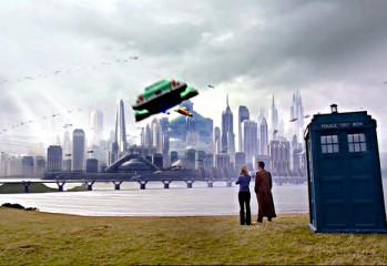 Rose y el Doctor a su llegada a Nueva Tierra