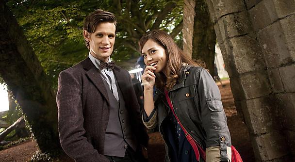 Matt y Jenna-Louise en la grabación de Doctor Who