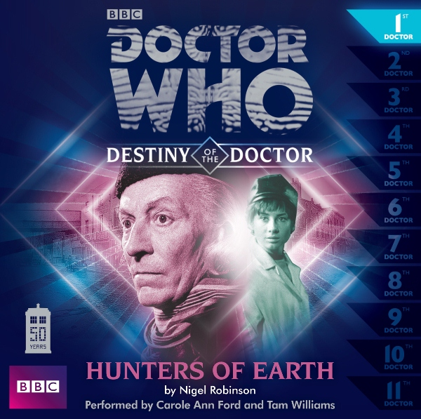 Portada de Hunters of Earth. Audio libro de 50 aniversario de Doctor Who